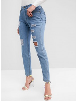 High Waist Ripped Jeans With Pockets - Jeans Blue S