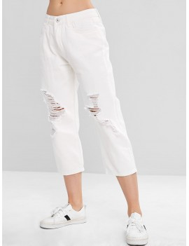 Wide Leg Ripped Jeans - White S