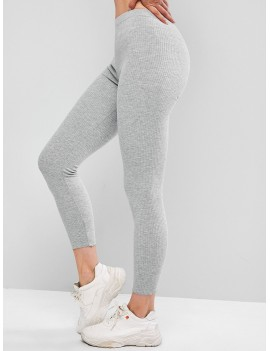Ribbed Lettuce Hem Knit Leggings - Light Gray