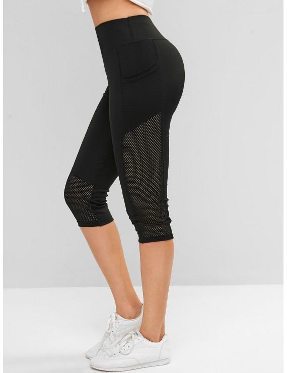 Perforated Pockets Solid Capri Leggings - Black S