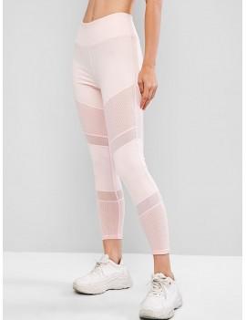 Mesh Panel Perforated Sports Leggings - Pink S