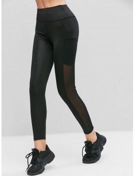 Mesh Panel Pockets High Waist Leggings - Black S