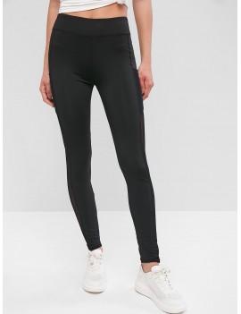 Pockets Mesh Panel Sports Leggings - Black M