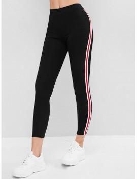 Side Striped Patched Capri Leggings - Black