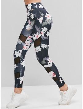 Mesh Panel Floral Print High Waist Leggings - Multi M