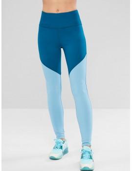 Skinny Color Block Workout Leggings - Silk Blue M