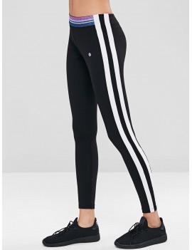 Striped Skinny Sports Leggings - Black L