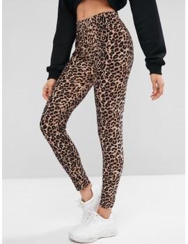 Leopard Print High Waist Leggings - Leopard