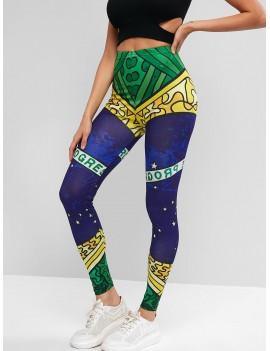 High Waisted Brazilian Flag Print Leggings - Multi S