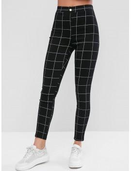 Plaid Button Embellished Pockets Leggings - Black S