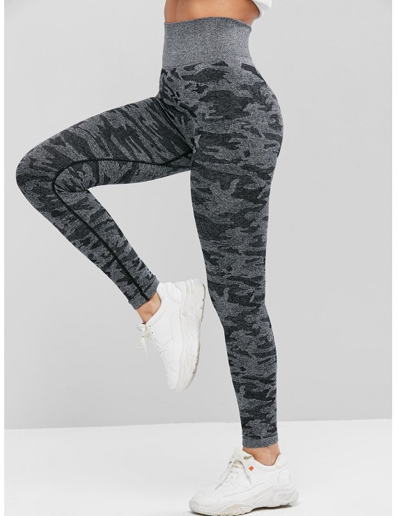 Camouflage High Waist Knitted Leggings - Multi M