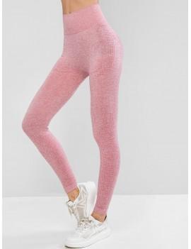 High Waist Heathered Sports Leggings - Pink M