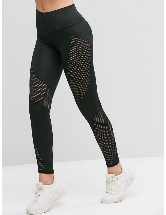 Openwork High Waisted Solid Leggings - Black S