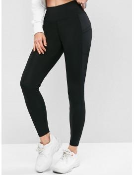 High Waisted Skinny Plain Leggings - Black M