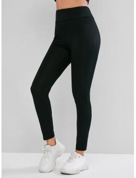 Basic Elastic Waist Skinny Leggings - Black S
