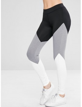 Athletic Color Block Gym Sport Leggings - Black L