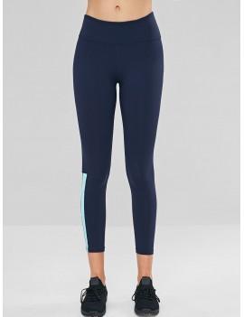 Stripes Panel Ninth Sports Leggings - Dark Slate Blue S