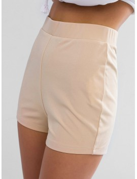 Solid Color Stretchy High Waisted Shorts - Blanched Almond S