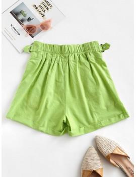 Pockets Buckle Cuffed Hem High Waisted Shorts - Green Peas L