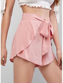 Overlay Tie Waist Mini Shorts - Pink Rose S