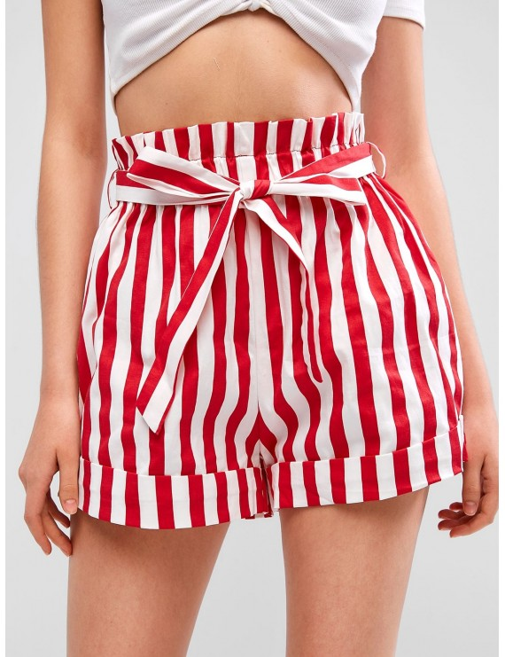 Cuffed Belted Stripes Paperbag Shorts - Lava Red S