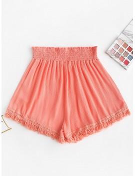 Smocked Tasseled Hem High Waisted Shorts - Pink M