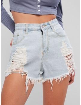 Light Wash Ripped Frayed Denim Shorts - Jeans Blue S
