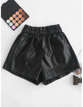 Pockets Drawstring PU Leather Shorts - Black S