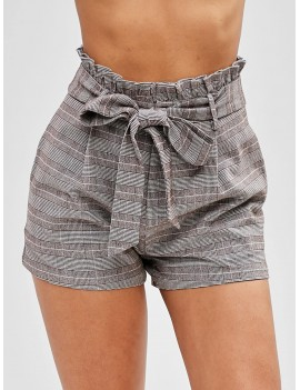 Plaid Frilled Belted Shorts - Multi M