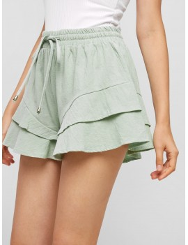 Tiered Drawstring Wide Leg Shorts - Pale Blue Lily Xl
