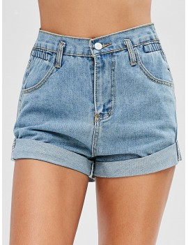 High Waisted Denim Cuffed Shorts - Denim Blue L