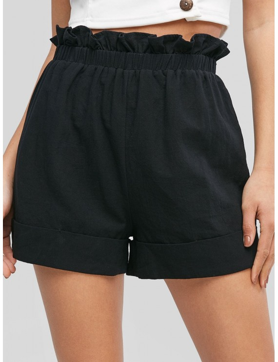 Frilled High Waisted Cuffed Shorts - Black M