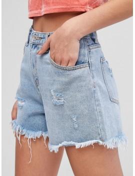 Pocket Frayed Hem Ripped Denim Shorts - Jeans Blue S