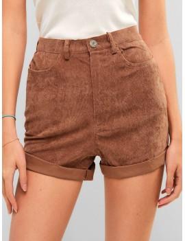 High Waisted Plain Cuffed Shorts - Chestnut S