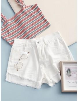 Frayed Hem Pockets Denim Shorts - White M