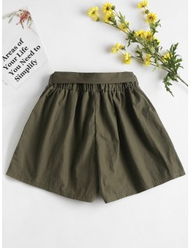 High Waisted Paper Bag Shorts - Army Green M