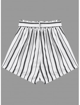 Striped Wide Leg Shorts With Tie Belt - White M