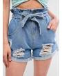 Cuffed Destroyed Denim Paperbag Shorts - Denim Blue M