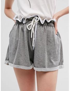 Drawstring Buttons Wide Leg Cuffed Shorts - Gray S