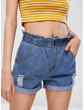 Ripped Cuffed Denim Shorts - Jeans Blue M