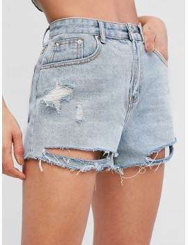 Cuff Off Ripped Jeans Shorts - Jeans Blue S