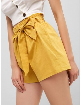 Solid Belted Paperbag Shorts - Yellow L