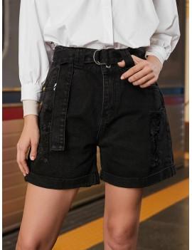 Cuffed Ripped Jean Bermuda Shorts - Black S