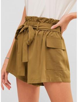Frilled Pocket Paperbag Waist Shorts - Camel Brown L