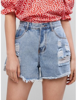 Ripped Frayed Hem Pocket Denim Shorts - Jeans Blue L