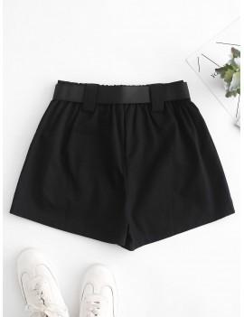 High Waisted D Ring Flap Pocket Shorts - Black S