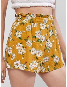 Floral Print Casual Paperbag Shorts - Goldenrod S