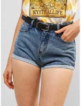 Belted Denim Cuffed Shorts - Blue L
