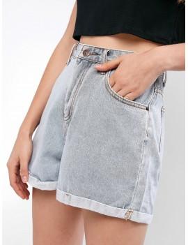 Light Wash Rolled Hem Boyfriend Denim Shorts - Jeans Blue M