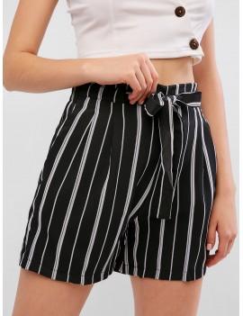Drawstring Stripes Paperbag Shorts - Black S